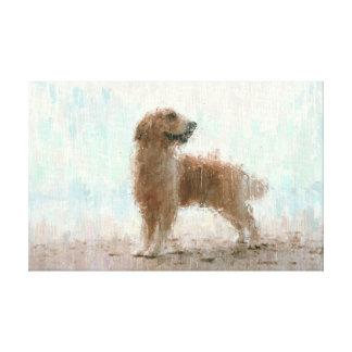 Golden Retriever Dog on Beach Impressionist Art Canvas Print