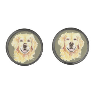 Golden Retriever Dog Pet Animal Art Gunmetal Finish Cufflinks