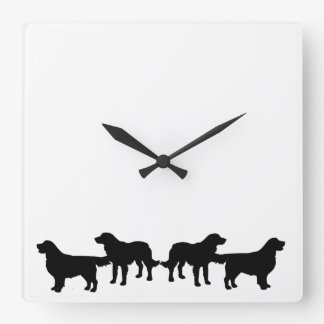 Golden Retriever Dog Pet Animals Square Wall Clock