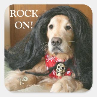 Golden Retriever Dog Rock On Halloween Costume Square Sticker