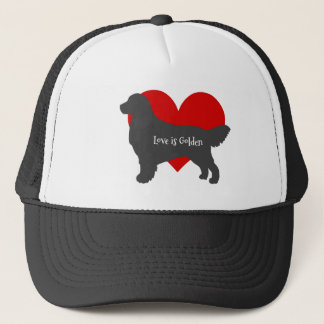 Golden Retriever Dog Silhouette Love Is Golden Trucker Hat