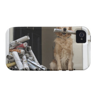 Golden retriever dog sitting at front door case for the iPhone 4