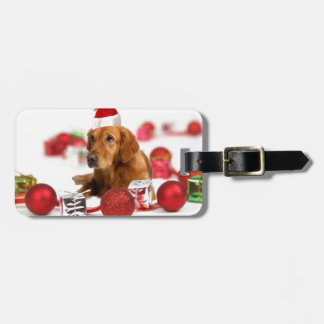 Golden Retriever Dog W Red Santa Hat Christmas Luggage Tag