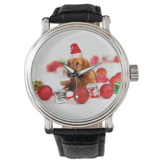 Golden Retriever Dog W Red Santa Hat Christmas Wrist Watches