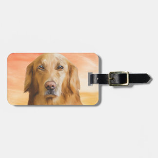 Golden Retriever Dog Water Color Art Oil Painting Luggage Tag