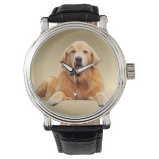 Golden retriever Dog Water Color Art Painting Wristwatches
