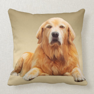 Golden Retriever Dog Water Colour Art Painting Throw Pillow