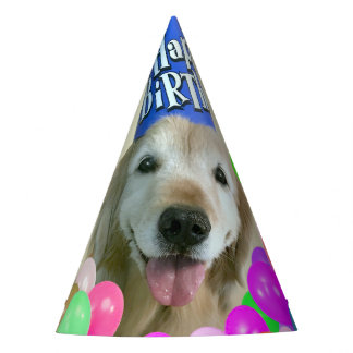 Golden Retriever Dog With Balloons Birthday Party Hat