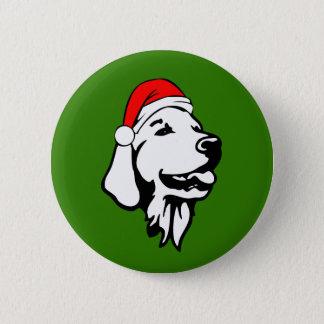 Golden Retriever_Dog with Christmas Santa Hat 6 Cm Round Badge