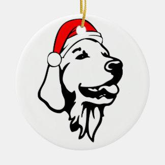 Golden_Retriever_Dog with Christmas Santa Hat Round Ceramic Decoration