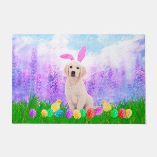 Golden Retriever Dog with Easter Eggs Bunny Chicks Doormat