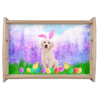Golden Retriever Dog with Easter Eggs Bunny Chicks Serving Tray