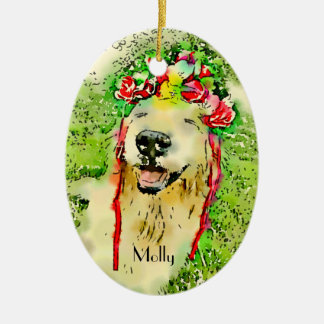 Golden Retriever Dog With Flower Crown Watercolor Ceramic Ornament