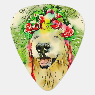 Golden Retriever Dog With Flower Crown Watercolor Plectrum