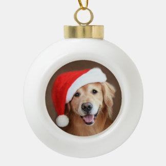 Golden Retriever Dog With Red Santa Hat Ceramic Ball Christmas Ornament