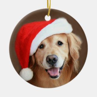 Golden Retriever Dog With Red Santa Hat Ceramic Ornament