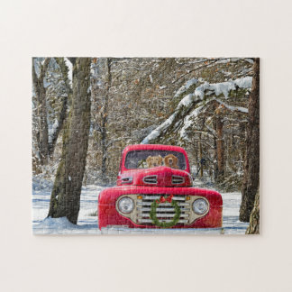 golden retriever dogs in old Christmas truck Jigsaw Puzzle
