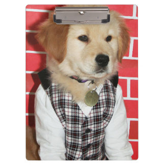 Golden Retriever Dressed Up Puppy Clipboard