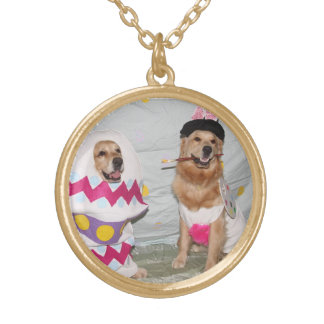 Golden Retriever Easter Bunny and Egg Round Pendant Necklace