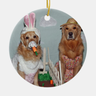 Golden Retriever Easter Bunny Carrot Patch Round Ceramic Decoration