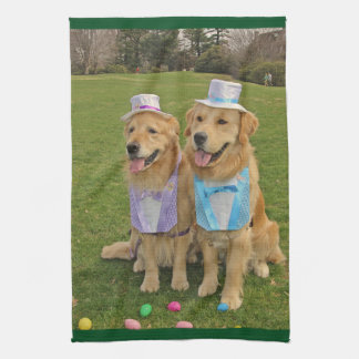 Golden Retriever Easter Egg Hunt Tea Towel