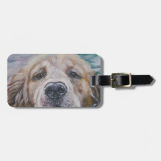 golden retriever fine art luggage tag