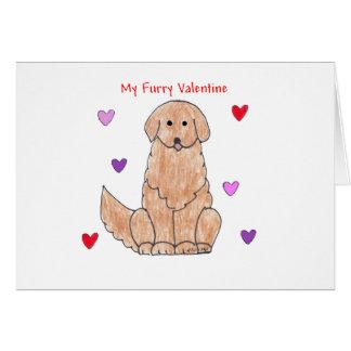 Golden Retriever Furry Valentine Card
