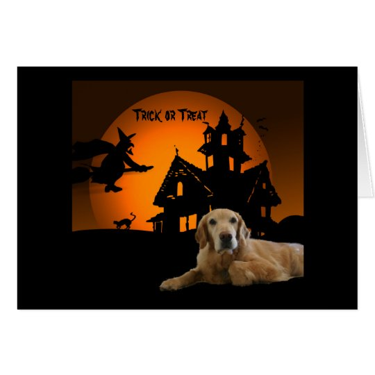 Golden Retriever Halloween Greeting Card