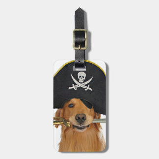 Golden Retriever Halloween Pirate Luggage Tag