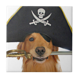 Golden Retriever Halloween Pirate Small Square Tile
