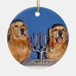 Golden Retriever Hanukkah Menorah Ceramic Ornament