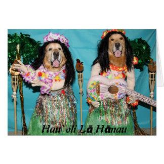Golden Retriever Hawaiian Hula Birthday Card