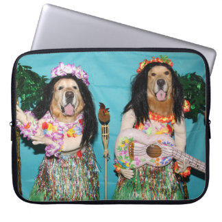 Golden Retriever Hawaiian Hula Dancers Laptop Sleeve