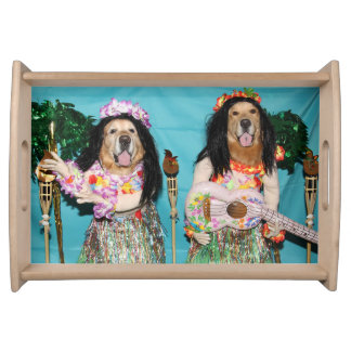 Golden Retriever Hawaiian Hula Dancers Serving Tray