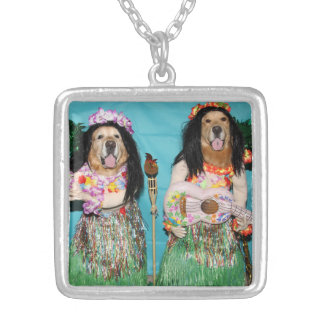 Golden Retriever Hawaiian Hula Dancers Silver Plated Necklace