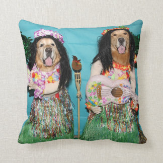 Golden Retriever Hawaiian Hula Dancers Throw Pillow