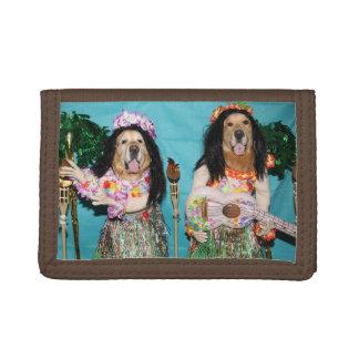 Golden Retriever Hawaiian Hula Dancers Trifold Wallet
