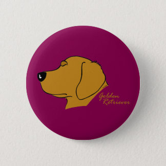 Golden retriever head silhouette 6 cm round badge