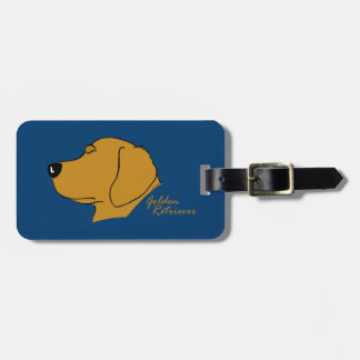 Golden retriever head silhouette luggage tag