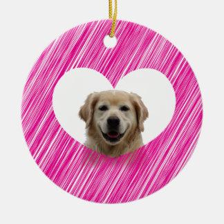 Golden Retriever Heart Valentine's Day Round Ceramic Decoration
