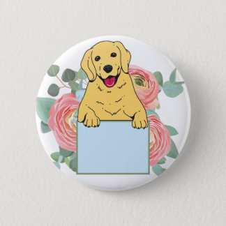 Golden Retriever Holding Sign 6 Cm Round Badge