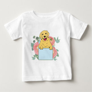 Golden Retriever Holding Sign Baby T-Shirt