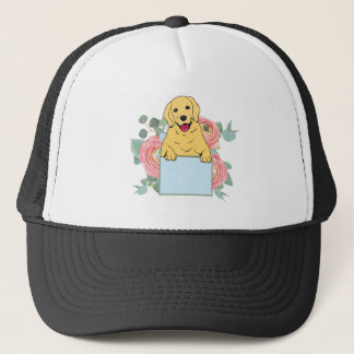 Golden Retriever Holding Sign Trucker Hat