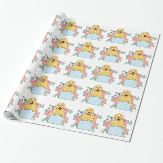 Golden Retriever Holding Sign Wrapping Paper