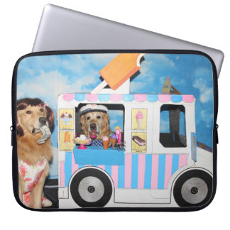 Golden Retriever Ice Cream Truck Laptop Sleeve