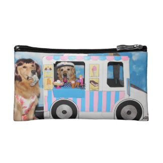 Golden Retriever Ice Cream Truck Makeup Bag