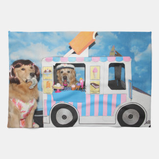 Golden Retriever Ice Cream Truck Tea Towel