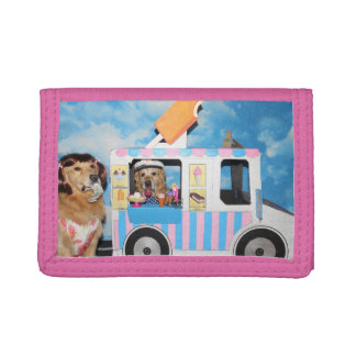 Golden Retriever Ice Cream Truck Tri-fold Wallet