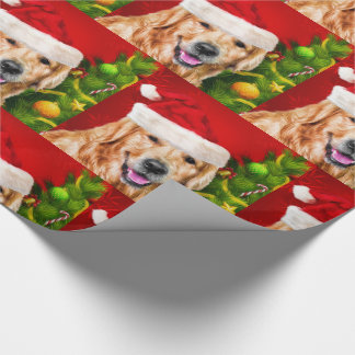 Golden Retriever in a Santa Hat Christmas Wrapping Paper