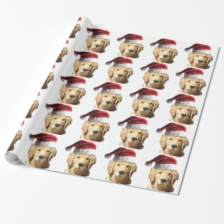 Golden Retriever in a Santa Hat Wrapping Paper